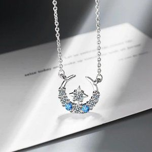 NEW 925 Sterling Silver Diamond Moon Star Necklace
